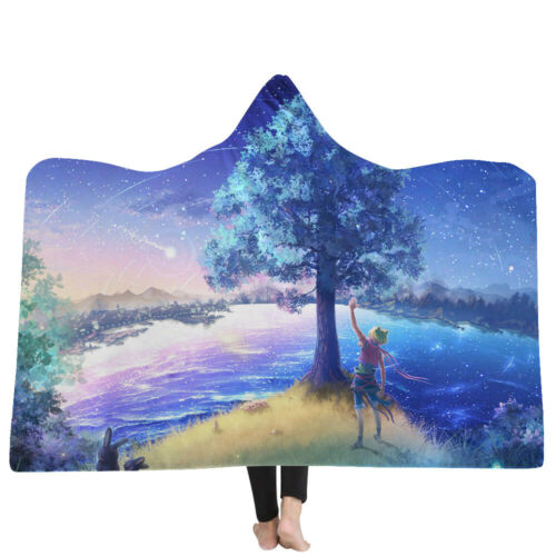 Forest Tree Hooded Throw Blanket Camping Soft Warm Wearable Scenery Cape Cloak