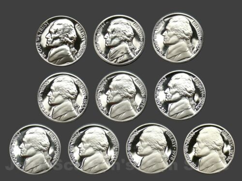 Decade Set of Proof Jefferson Nickels 1970-1979 10 Coin Lot