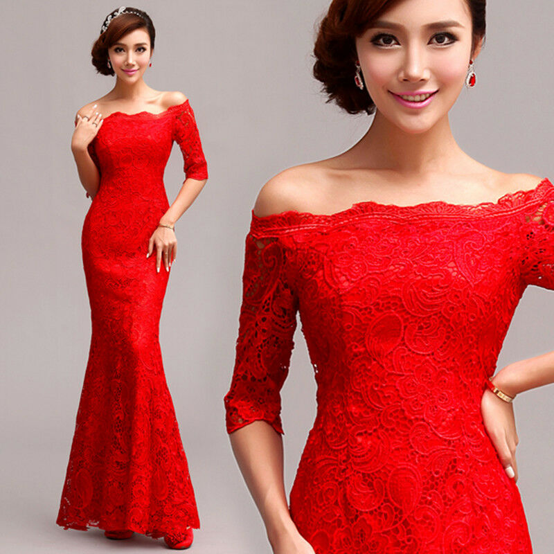 Red Lace Mermaid Skirt Formal Evening Prom Dress Bridesmaid Dress Ballgown QP177