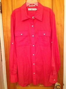 TOMMY-HILFIGER-BEACH-CORAL-LONG-SLEEVE-COLLARED-BUTTON-DOWN-SHIRT-TOP-SZ-16W-NWT