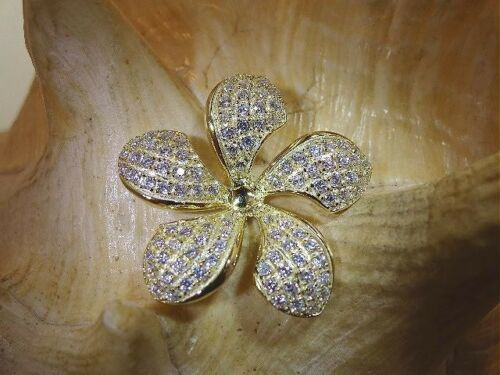 24MM 14K YELLOW GOLD PLATED OVER STER SILVER HAWAIIAN PLUMERIA CZ SLIDE PENDANT