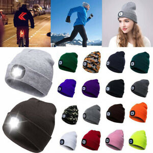 Mens Womens Ladies Winter Warm Knitted Beanie Hat LED Torch Light Camping Cap UK