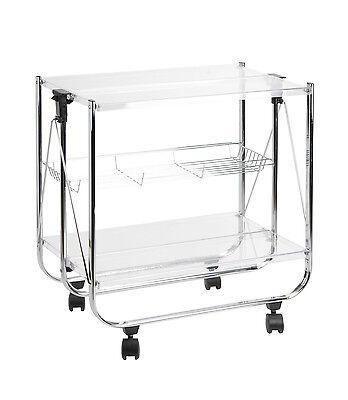 Carrello pieghevole Sheratonn colore trasparente in plexiglass acrilico