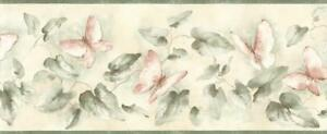 Wallpaper-Border-Watercolor-Ivy-Vine-with-Peach-Butterflies-with-Green-Trim