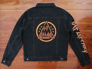 0306bc0ede Def Leppard dark gray denim jean jacket blazer graphic patch men s ...