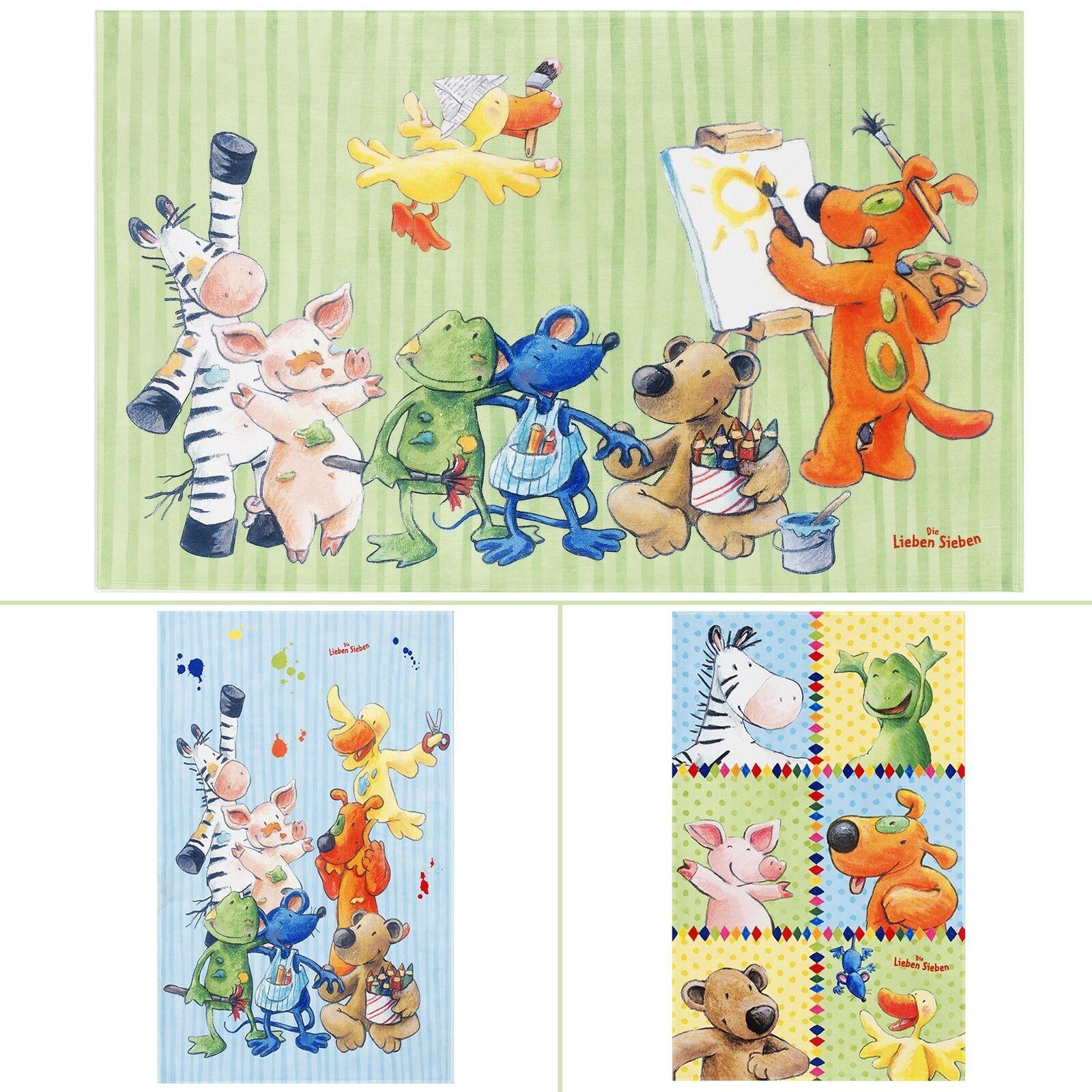Chambre Enfant tapis les aimer sept mignons, Animaux Couleurs  Bleu Vert Jaune