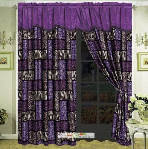 4-Pc Big Cat Feline Modern Rectangle Patchwork Cheetah Tiger Curtain Set Purple