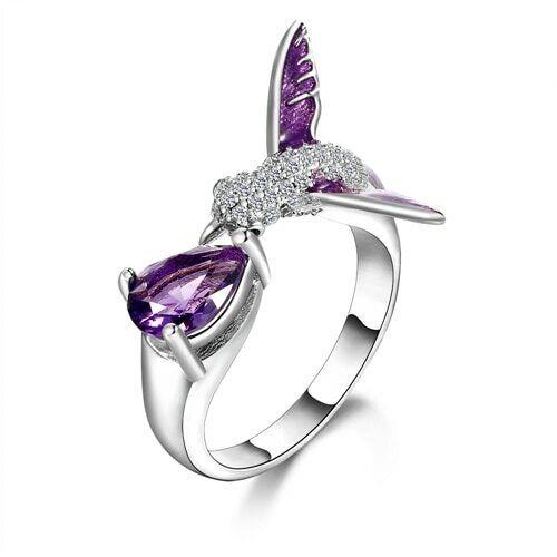 Amethyst Purple Gemstone Bird Resizable Ring Silver 925 Crystal Floral Offbeat