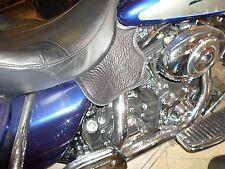 Harley Thigh & Saddle Engine Heat Shield Deflectors Plain Leather FLH FLST Black