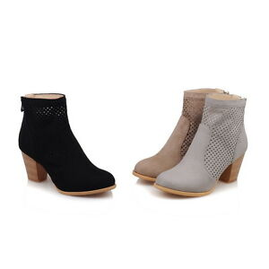 Womens-Shoes-Faux-Suede-Mid-Heels-Zip-Back-Hollow-Out-Ankle-Boots-UK-Size-b871