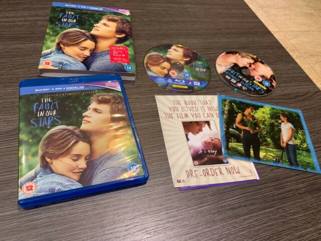 THE FAULT IN OUR STARDS BLU RAY + DVD + DIGITAL HD + 4 ART CARDS