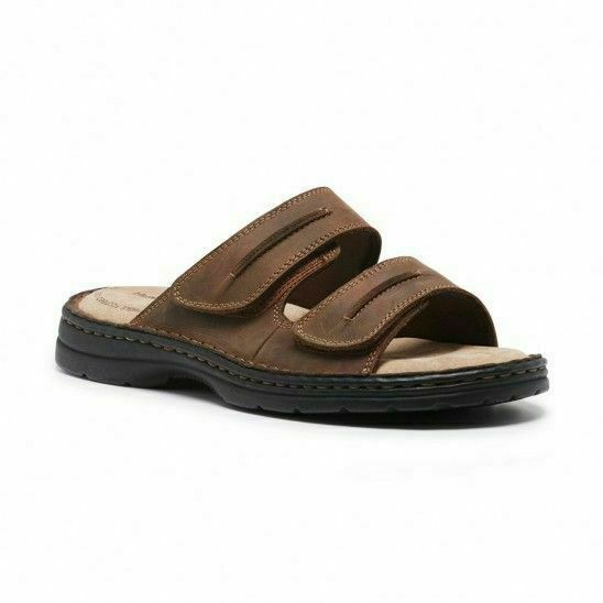 Mens Hush Puppies Slider Brown Sandals Slip On Leather Summer Shoes