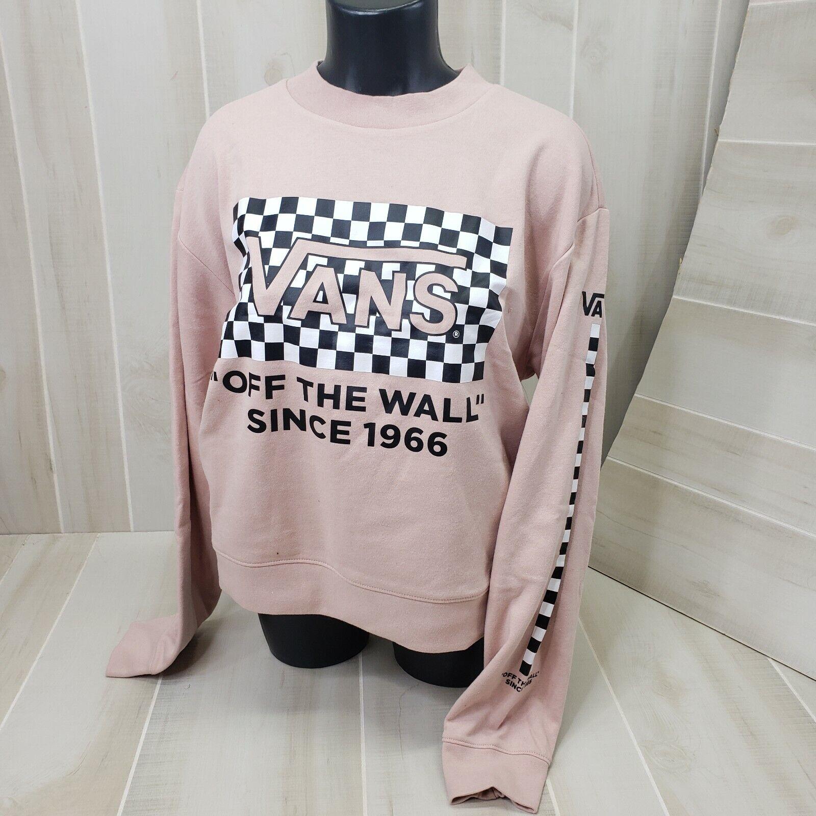 Vans Women's Sweatshirt Medium Pink Pullover Crew M Cropped Checker Check Logo