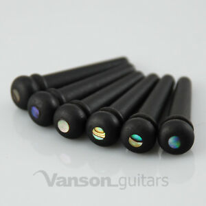 6 x VANSON High Quality Ebony & Abalone acoustic guitar Bridge Pins, String Pegs