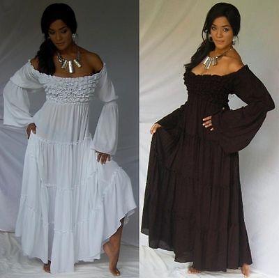 Boho Peasant Gypsy Ruffle Bust Maxi Dress 12 14 16 18 Swirl Clothing Alt Ethnic