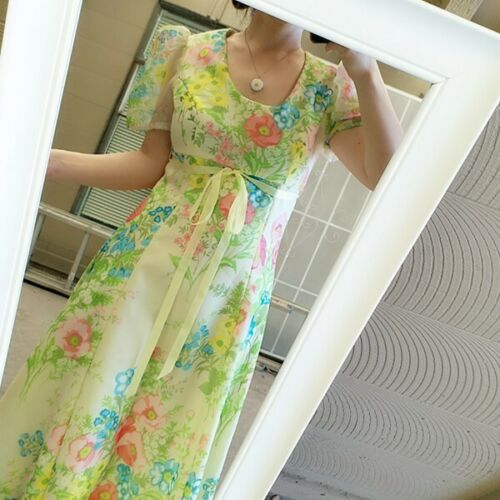 Vintage Prom Dress puff sleeve green pink floral m