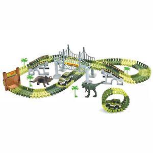 Mondo-dei-dinosauri-giocattolo-auto-Magic-TRACK-2-AUTO-JURASSIC-avventura-SNODATO-Road-Race-Set