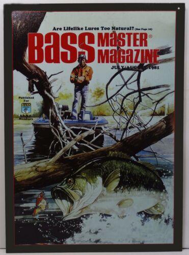 Bass Master Man Fishing Summer Magazine Issue Fish Metal Sign