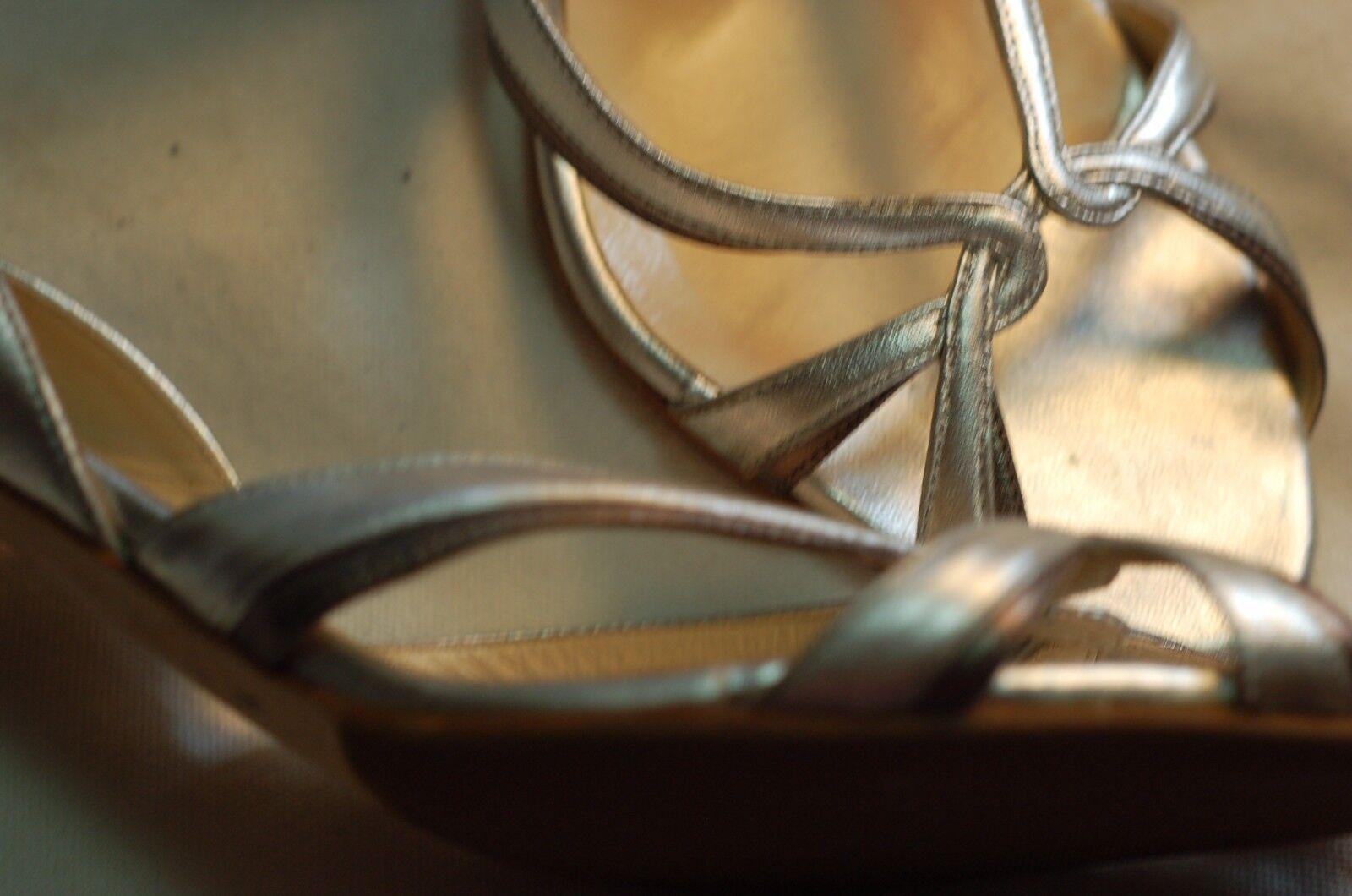 Jimmy Choo Heels  Silver Metallic Leder Heels Choo Sandales Schuhes Größe 40 Made in  8386b1