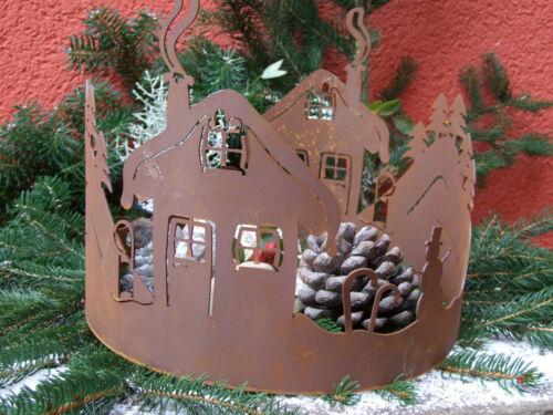 Dekoration Geschenk Weihnachten Windlicht Edelrost Schneehüttenkranz