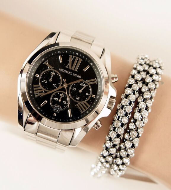 Michael kors bradshaw chronograph bracelet watch mk5705 ebay original michael kors watch womens mk5705 bradshaw xl color silverblack new gumiabroncs Gallery