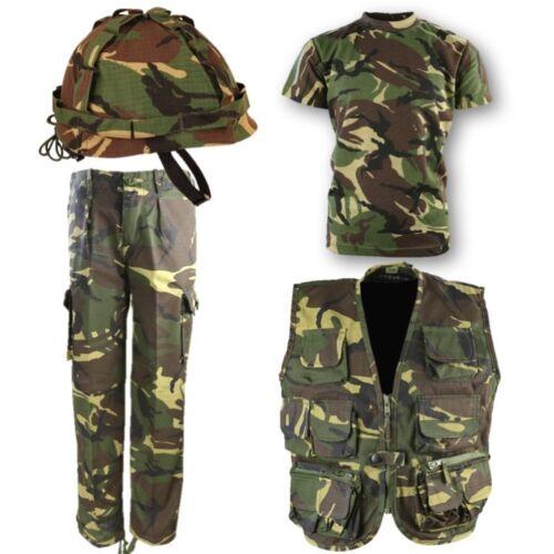 World Book Jour Garçons Armée Costume Kids Veste Pantalon Casque T-shirt DPM camo
