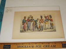 Rare Antique Orig VTG 1892 English Military Uniforms Color Engraving Art Print