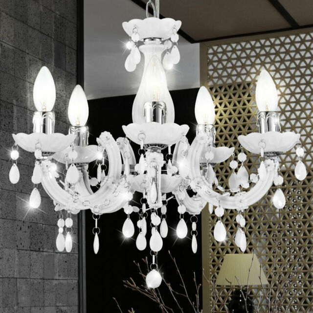 Lámpara de Techo Colgante Péndulo Araña Luz 5-flg Reflector Cristal Blanco