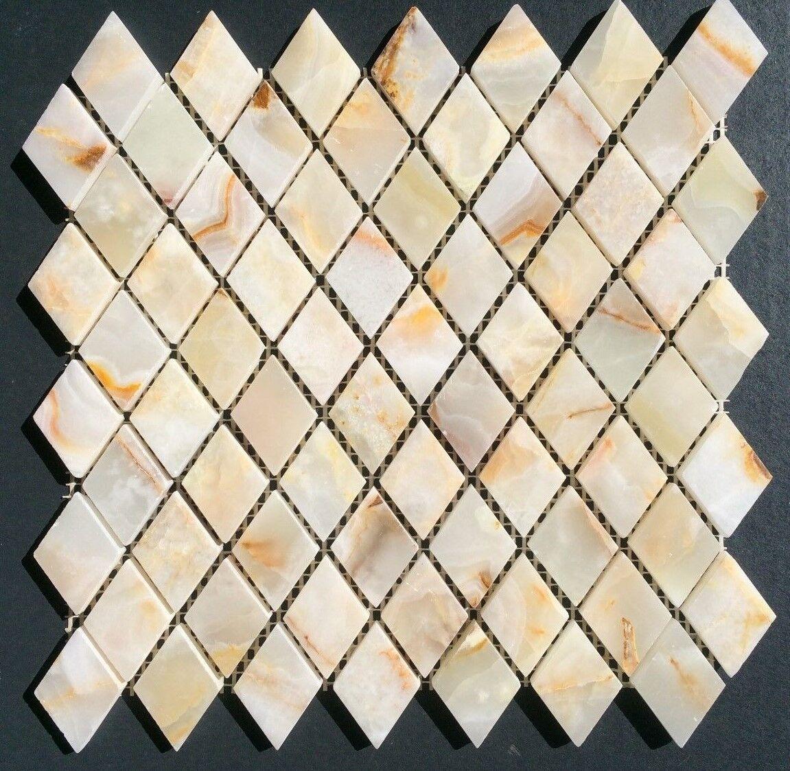 Weiß Onyx DIAMOND Polished Mosaics Meshed on 12 X 12 Tiles