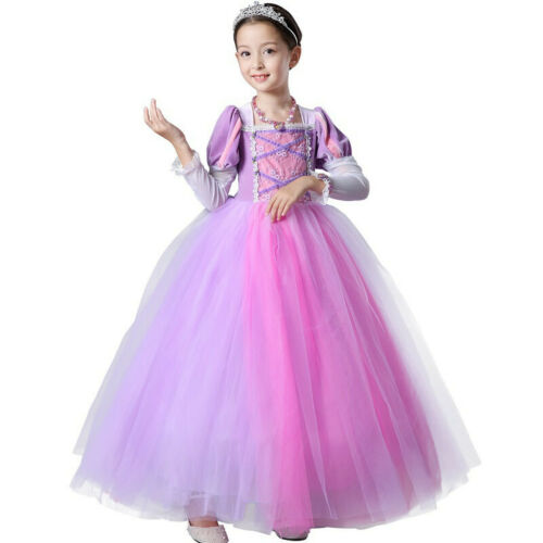 Kids Girl Princess Tangled Rapunzel Cosplay Party Dress Halloween  Xmas Costume