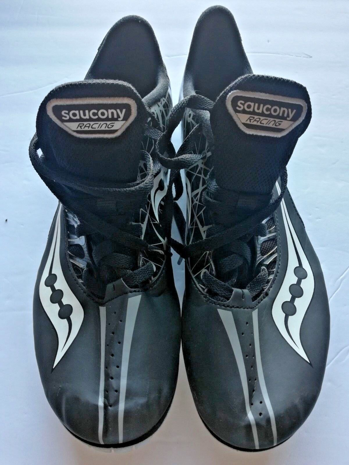 SAUCONY Spitfire Men's Black & Silver Track Cleats Athletic shoes Mens Size 11.5
