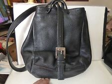 Vintage Calvin Klein Black Pebble Leather Drawstring Pouch Shoulder Bag