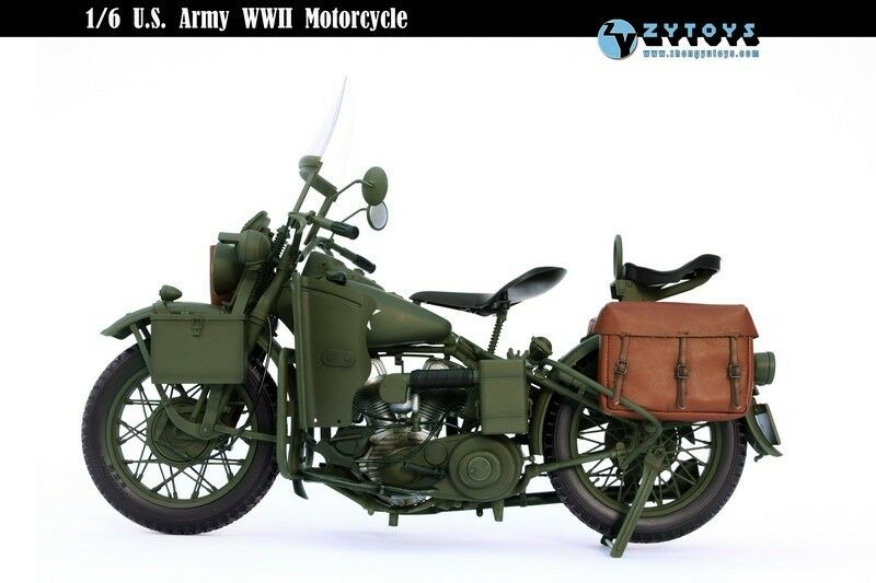 ZY TOYS Diecast Plastic WWII US Army Harley Davidson Motorcycle 1 6
