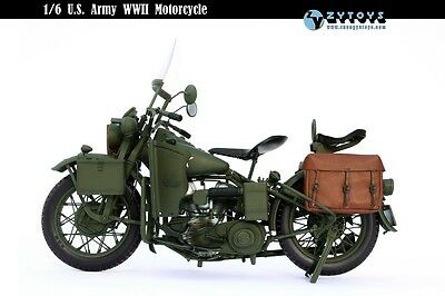 ZY TOYS Diecast/Plastic WWII US Army Harley Davidson Motorcycle 1/6
