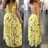 Summer Womens Cocktail Party Prom  Floral Backless Chiffon Maxi Long Dress❀