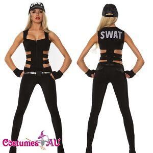 fcab0ee05ad New Ladies Woman Black SWAT Cop Police Uniform Party Fancy Dress ...