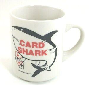 Vintage-Card-Shark-Coffee-Mug-Cup-Poker-Gambling-Ace-Spade-Diamond-Club-Heart