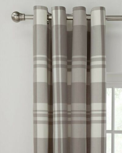 """Grey Checked Curtains 46/""""x54 /"""""""