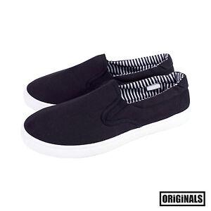 Black-Canvas-Shoes-Men-039-s-Slip-On-Casual-Sneakers-Kicks-Originals-Lowtop-Footwear