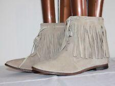 JANET & JANET  Boots Tout cuir beige à Franges T 36 TBE