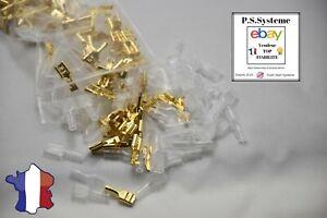 Lot-100-cosses-6-3-mm-electrique-en-laiton-brut-a-sertir-femelle-avec-isolants