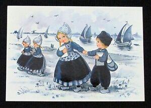 Vintage Postcard Dutch Girls and Boy Seaside Sailboats Holland