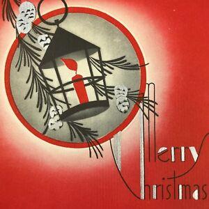 Vintage-Mid-Century-Christmas-Greeting-Card-Art-Deco-Lantern-Red-Silver-Pinecone