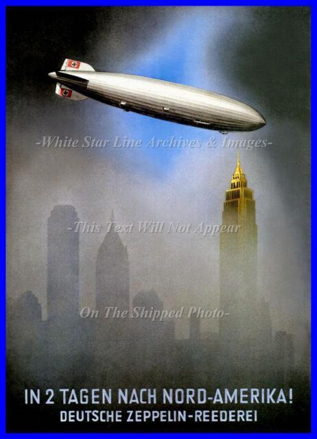 HINDENBURG 8.5 x 11 Mini-Poster: Hindenburg Over NY Poster AD: 1936