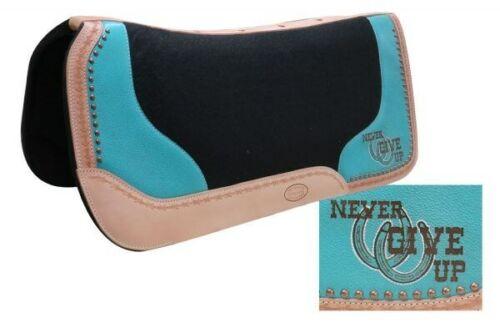 """SHOWMAN 32/""""x31/"""" Noir /& Turquoise Feutre Chabraque avec Never Give Up Logo nouveau Tack"""