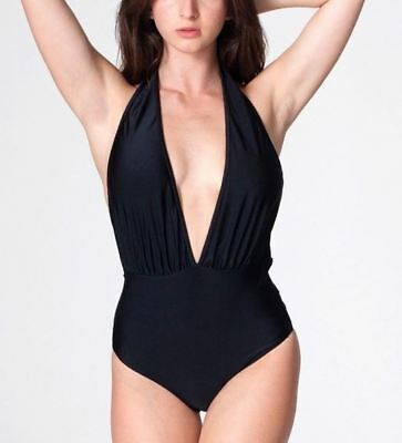 NEW J Crew Ruffle Halter One Piece Swimsuit in Pique Nylon BLACK 8 Medium H7616