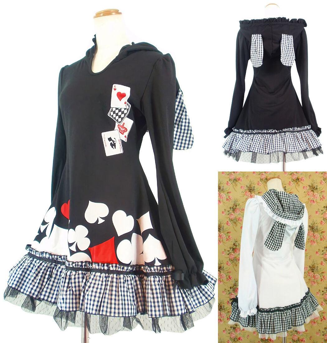 Dolly Kawaii Gothic Lolita Bunny Ears Hoodie Long Sleeve Dress