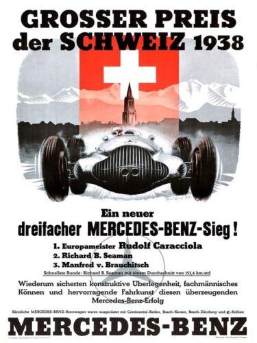 old Motor sport 1938 poster wall art reproduction. Grosser Preis