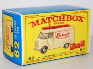 Matchbox-Lesney-No-62-TV-SERVICE-VAN-RENTASET-Repro-empty-E-style-Box