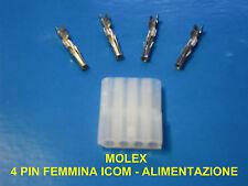 4 PIN MOLEX FEMMINA PER  ICOM IC-25 / IC-28 / IC-240 / IC-245 / IC-290